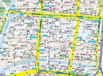 【地図】QCフラット北堀江
