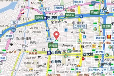 【地図】レジディア心斎橋ウエスト