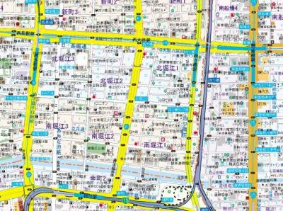 【地図】レキシントン・スクエア北堀江