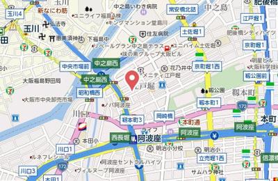 【地図】ラグゼ江戸堀