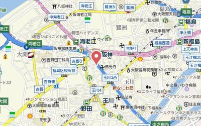 【地図】ララプレイス大阪福島プレッソ