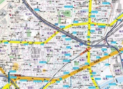 【地図】ベクス福島