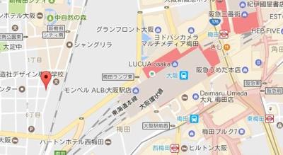 【地図】トモドール北梅田