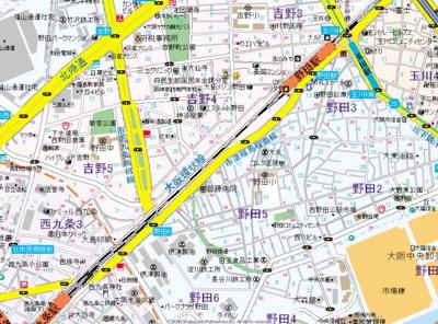【地図】ジュネーゼグラン福島ミラージュ