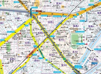 【地図】ゲートコート大阪福島