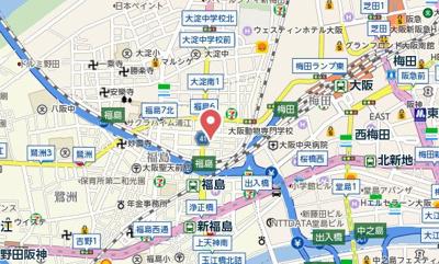 【地図】エスリード福島LUXUE