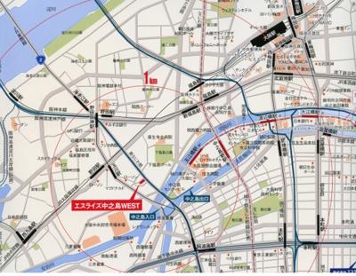 【地図】エスライズ中之島WEST