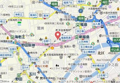 【地図】アルグラッド福島WEST