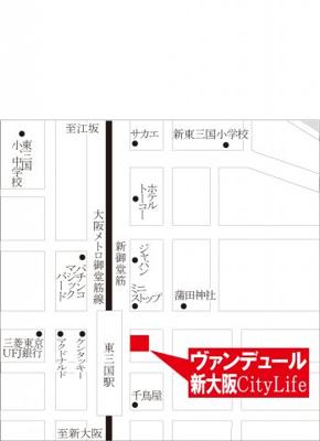 【地図】ヴァンデュ―ル新大阪Citylife