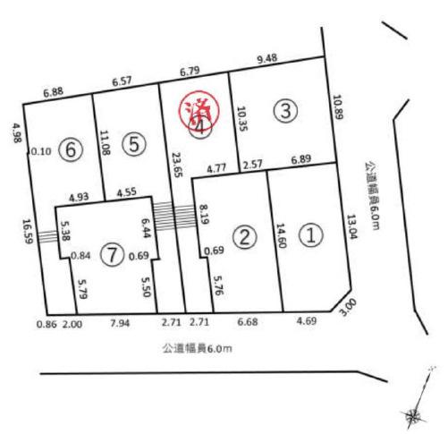 【土地図】売地 藤沢市大庭 小糸 6区画