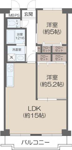 中古マンション 2LDK 専有面積:59.40平米(壁芯) バルコニー面積6.18平米 南向き