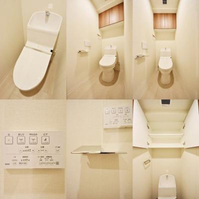 WC、自動洗浄機能、洗浄暖房便座搭載、収納付です。