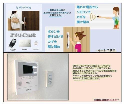 キーレスドアで快適に、暮らしの安全を守るTVモニター付きインターホンも付いています。