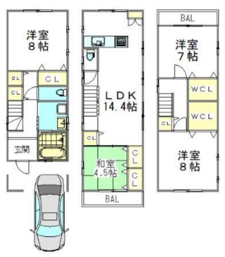 価格3280万円 土地面積68.72m2 建物面積106m2 B号地 参考プラン図 9月末着工予定です!