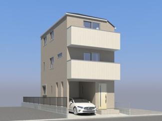 外観パースです 新築戸建 3SLDK JR南武線「鹿島田駅」徒歩15分 充実の設備・仕様 広々としたリビングは18.3帖、床暖房設置