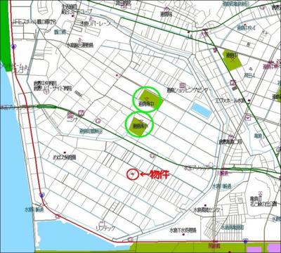 【地図】連島町鶴新田リフォーム済中古戸建