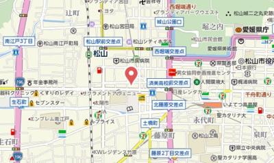 【地図】パークハイツコミセン前