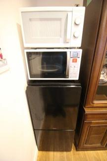冷蔵庫、電子レンジも完備しております。