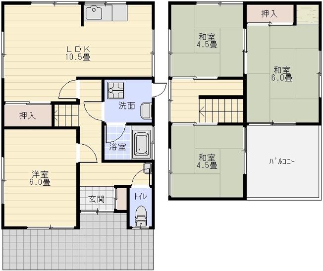 大県3丁目4LDK貸家 柏原市 戸建て賃貸