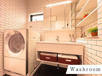 スッキリとした洗面台。朝の身支度もスムーズに♪