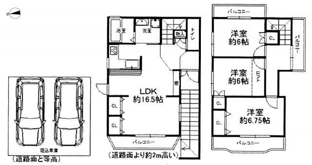 掘込車庫には2台駐車可能!全居室6帖以上のゆったり3LDK♪
