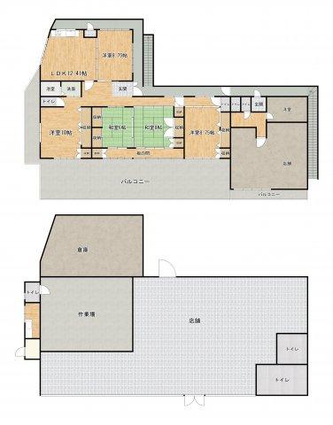 1階がテナント・2階に住居とテナントがございます。