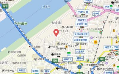 【地図】アルモニー大淀