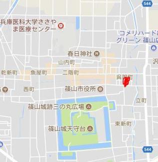 【地図】丹波篠山市呉服町売地