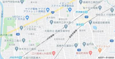 【地図】富田丘連棟貸家 左 (株)Roots