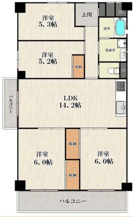 中古マンション 4LDK 専有面積:79.52平米 バルコニー面積:11.82平米 南向き