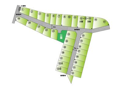 【区画図】【分譲地】ライフフィールド岩出中島Ⅱ ★全32区画 ★@12.8万~