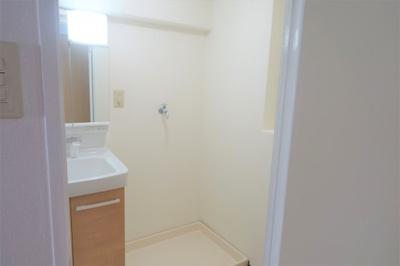 室内洗濯機置き場のある洗面室