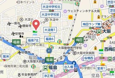 【地図】エクセランス梅田西