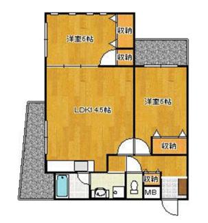 使いやすい2LDKの間取。専有面積64.99平米 全室フローリング。
