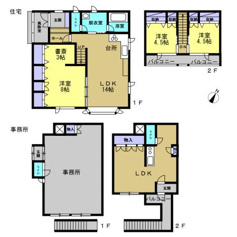 上図が平成22年築の住宅、下図が事務所の間取り図です。事務所2階はもともと休憩室として使われていたため、キッチンとトイレが付いております。