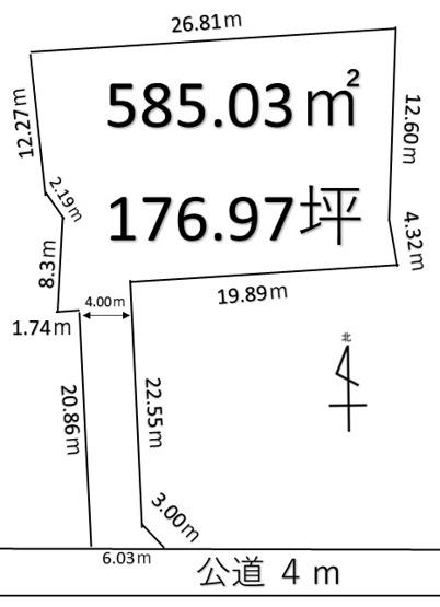 【土地図】深谷市長在家 700万 土地