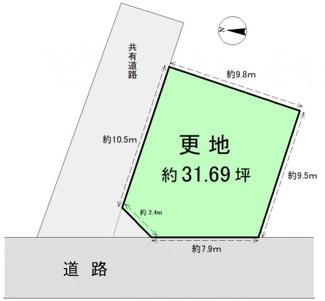 角地区画の更地です 敷地面積104.79㎡(約31.69坪)