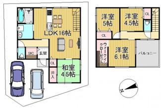 新築参考プラン:延床面積:93.15m2 建物参考価格:1700万円