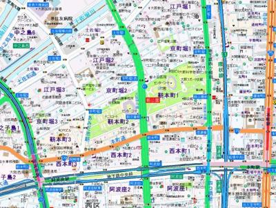 【地図】アメニティ江戸堀