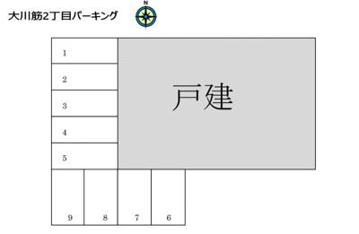 【区画図】大川筋2丁目(高知城橋北東)パーキング