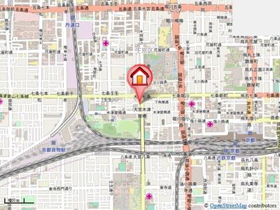 【地図】ヒーリングタワー七条大宮