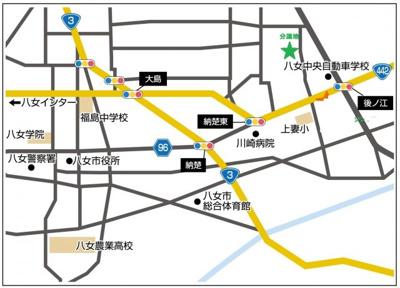 【地図】八女市平田分譲地