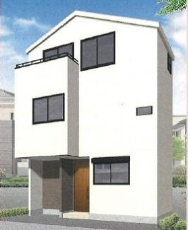 外観パースです 新築戸建 C棟 3LDK 敷地面積:40.54㎡ 建物面積:76.21㎡ 西側公道(幅員)約4.0m
