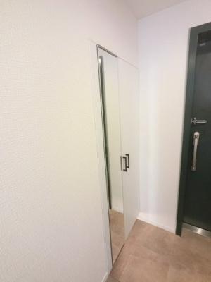 玄関収納です。 姿見がついており機能性も高いです。
