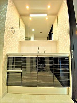 洗面台も収納スペースが豊富なので、洗面周りをスッキリとお使いいただけます。