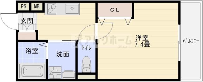 EXハイツ柏原(柏原市大正・JR柏原駅) 1K