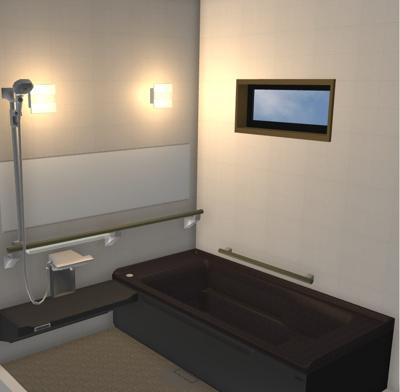 弊社モデルハウス:バスルーム部分 物件から徒歩約1分の所にモデルハウスがあります。 いつでも見学できますので、お気軽にお越しくださいね('ω')
