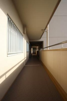 マンションの廊下です。築年数は経過していますがきちんとお手入れがなされたマンションです。