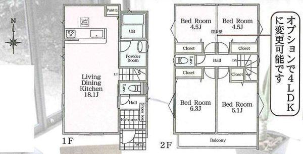 土地面積100.53平米 建物面積90.66平米 カースペース2台分付きの3LDK!(オプションで4LDKに変更可) 各室収納付きの使い勝手の良い間取りです!