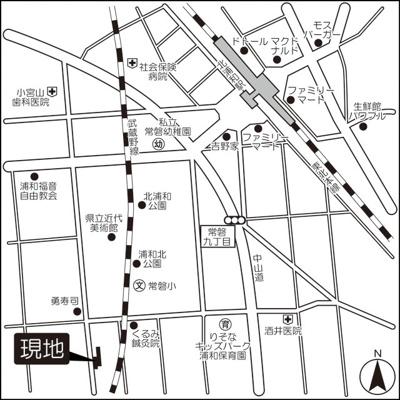 【地図】ソアラノーム北浦和